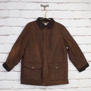 LL Bean Upcountry Waxed-Cotton Wool Lined Jacket M